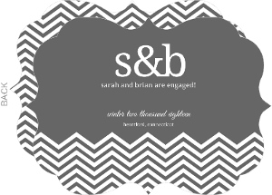 Dark Gray and White Chevron Engagement Announcement