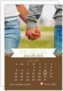 Brown Calendar Photo Save the Date