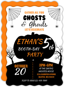 Pumpkin Ghosts & Ghouls Halloween Birthday Invitation