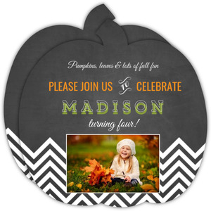 Fall Photo Halloween Birthday Invitation