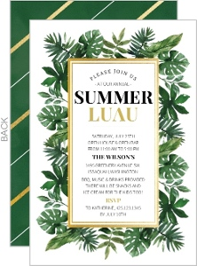 Tropical Watercolor Leaves Luau Invitation