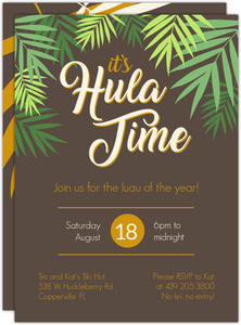 Hula Time Palm Luau Invitation