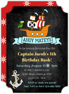 Fun Pirate Ship Kids Birthday Invitation
