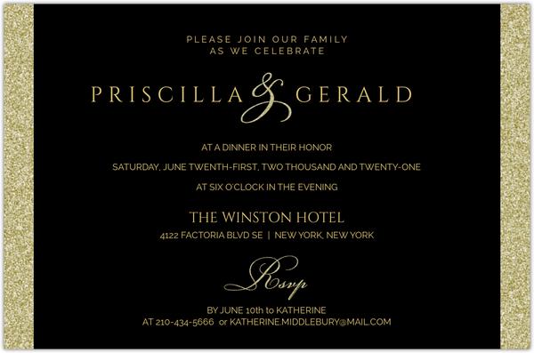 Black Gold Classic Photo Anniversary Invitation 50th Anniversary