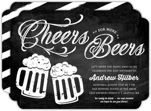 Chalkboard Foamy Beer 21st Birthday Invitation