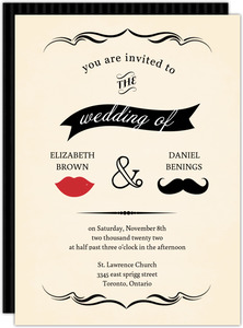 Yellow Vintage Mustache Wedding Invitation