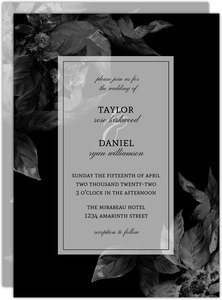 Dark Leaves Modern Wedding Invitation