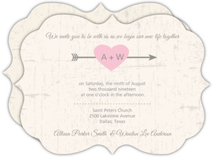 Rustic Pink Heart Wedding Invitation