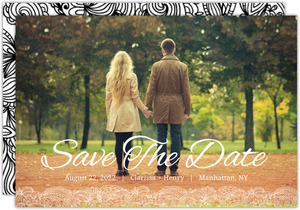 Bold Black and White Lace Photo Save the Date