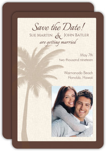 Tan Tropical Palm Tree Save the Date