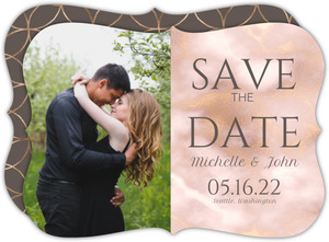 Pink Blush and Gold Marble Save the Date Card