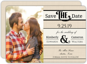 Cream Linen Western Style Save the Date