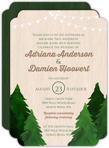 Evergreen Tree Hanging Lights Wedding Invitation