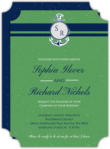 Nautical Blue and Green Wedding Invitation