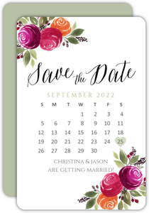 Berry Floral Calendar Save the Date