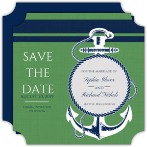 Nautical Blue and Green Save the Date