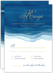 Elegant Blue Watercolor Wash  Wedding Response Card