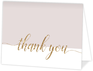 Modern Faux Gold Glitter Thank You Card