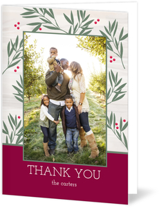 Greenery Peace and Love Holiday Thank You Card