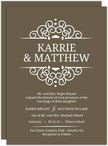 Brown Intricate White Frame Wedding Invitation