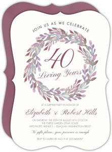 Whimsical Watercolor Wreath Anniversary Invitation