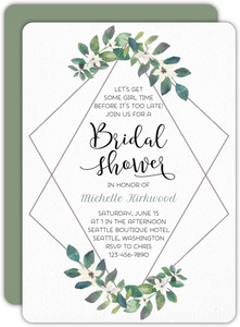 Greenery Diamond Frame Bridal Shower Invitation