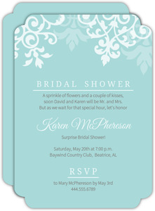 Blue Damask Flourish Surprise Bridal Shower Invitation
