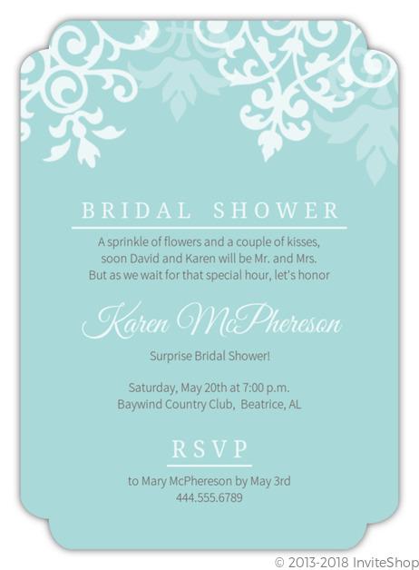 Blue Damask Flourish Surprise Bridal Shower Invitation Bridal