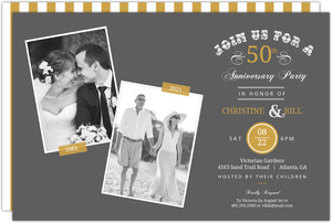 Vintage Typographic Memories 50th Anniversary Invitation