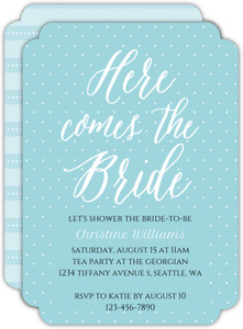 Here Comes The Bride Script Bridal Shower Invitation