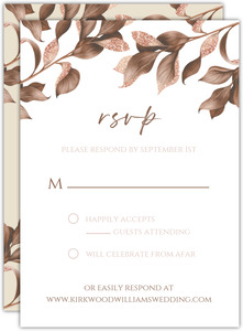 Faux Glitter Autumn Leaves Wedding Response Card