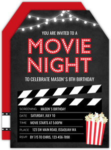 Hanging Lights & Popcorn Movie Night Invitation