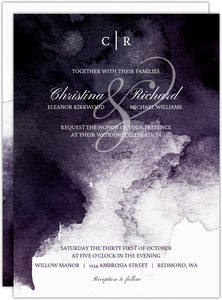 Dark Watercolor Stain Wedding Invitation