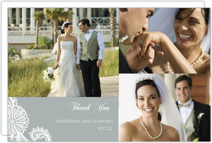 Elegant Gray White Lace Wedding Thank You Card