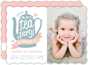 Cute Pink Ribbon Tea Party Birthday Invitation