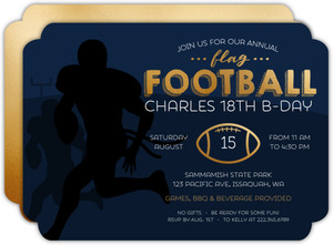 Green Touch Down Dance Football Birthday Invitation