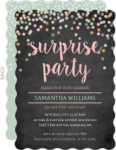 Pastel Confetti Chalkboard Surprise Birthday Invitation