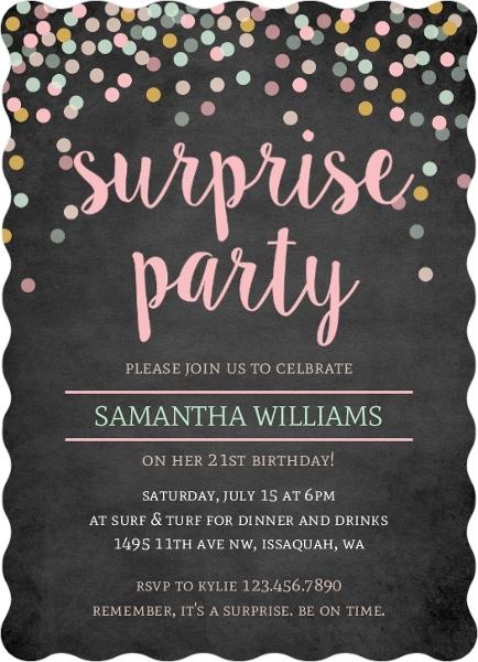 Pastel Confetti Chalkboard Surprise Birthday Invitation