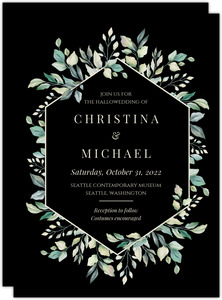 Diamond Greenery Frame Wedding Invitation