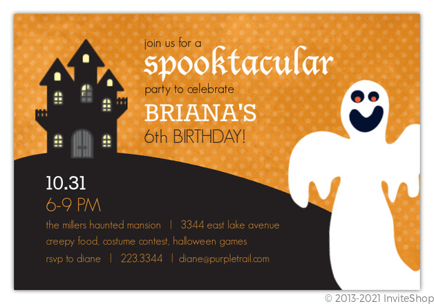 scary ghost kids halloween birthday party invite kids birthday