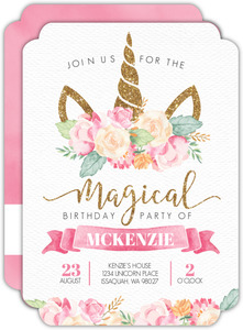 Faux Glitter & Watercolor Unicorn Birthday Party Invitation