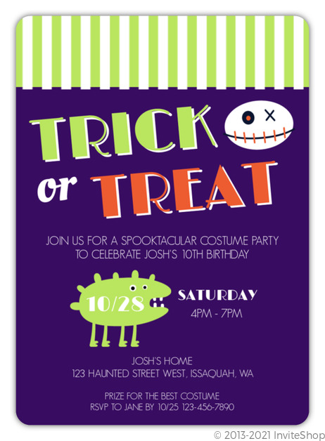 Costume trick or treat halloween birthday invitation kids birthday costume trick or treat halloween birthday invitation filmwisefo