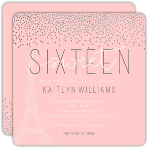 Confetti Paris Sweet 16 Birthday Invitation