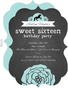 Rustic Chalkboard Cowgirl Sweet Sixteen Birthday Invitation