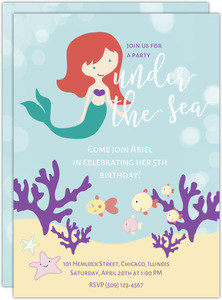 Party Under the Sea Mermaid Birthday Party Invitation