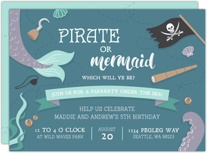 Pirates and Mermaids Under the Sea Kids Birthday Invitation