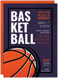 Modern Halftone Basketball Party Invitation