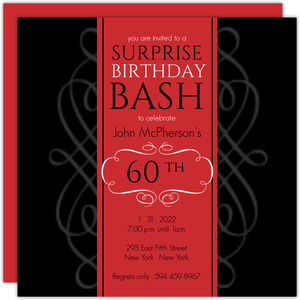 Formal Red Surprise Birthday Soiree Invite