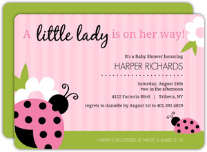 Pink and Green Lady Bug Girl Baby Shower Invitations