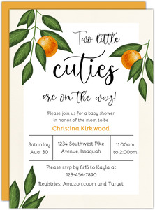 Two Little Cuties Baby Shower Invitation